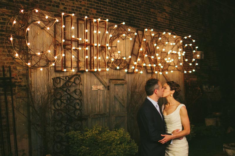 chicago bride and groom night lights