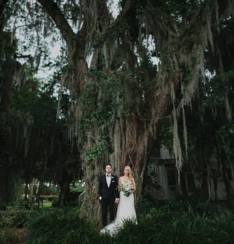 bride and groom spanish moss dramatic romantic