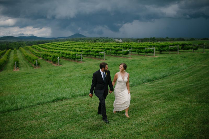 vineyard wedding winery bride and groom
