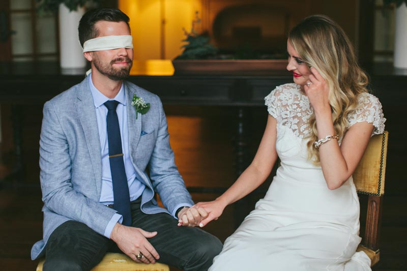 first look blindfolded groom