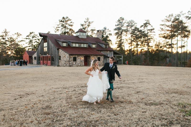 barn wedding luxury wedding bride and groom