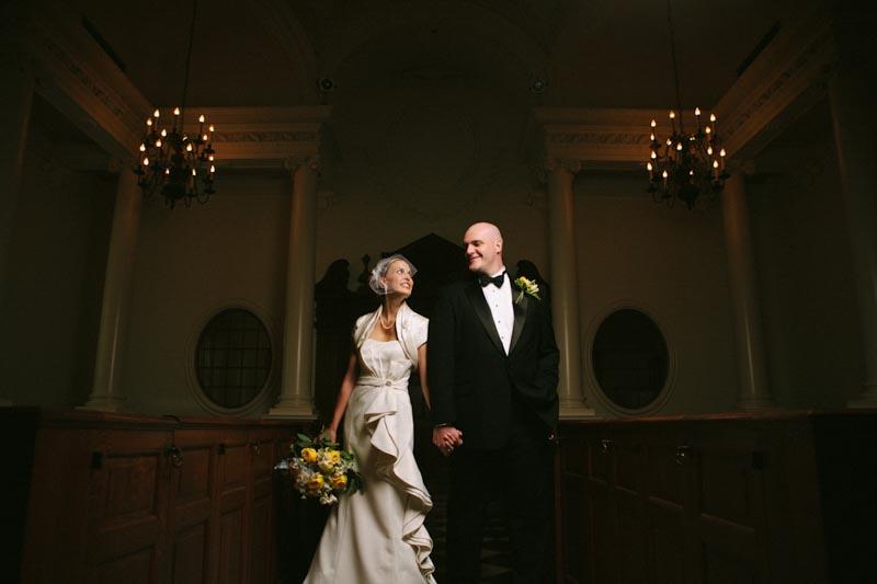 wedding couple portrait indoors church