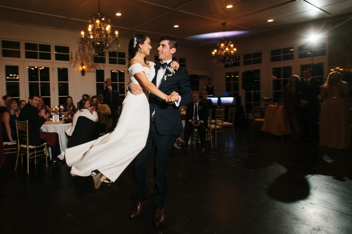 bride and groom dancing reception winter wedding