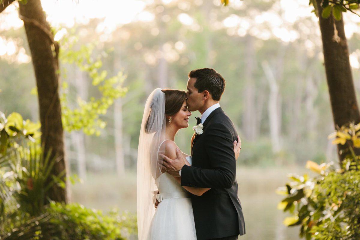 bride and groom portrait romantic