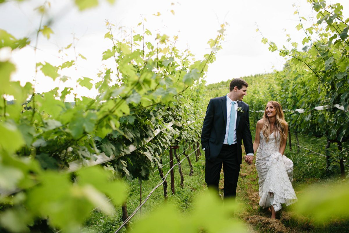 bride and groom vineyard winery
