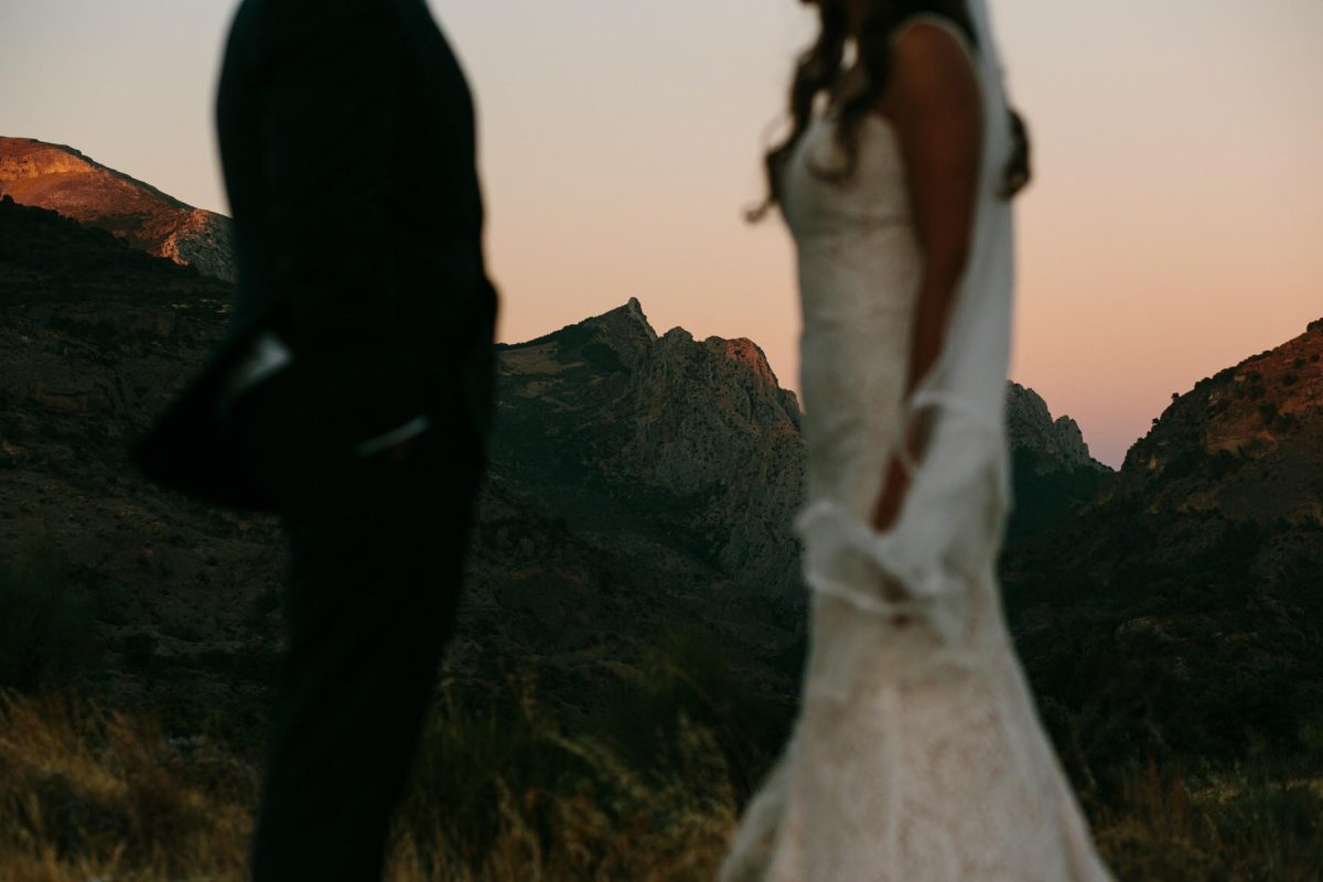 dramatic mountain photo wedding couple Mijas, Spain