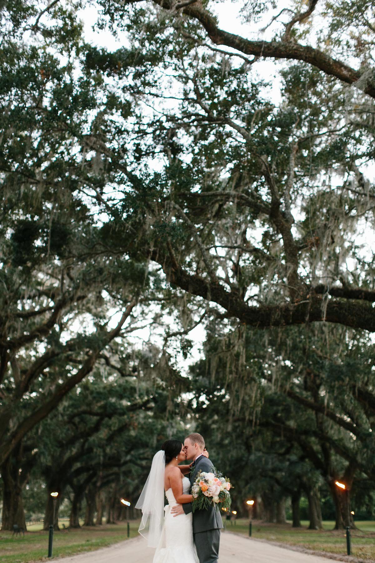 bride and groom spanish moss