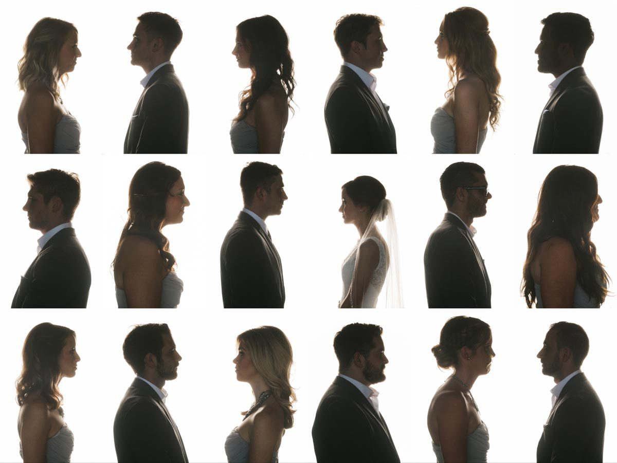 creative bridesmaids and groomsmen portrait
