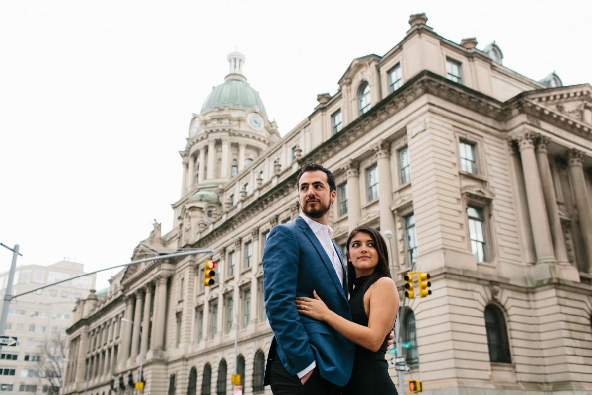formal engagement photo in New York City