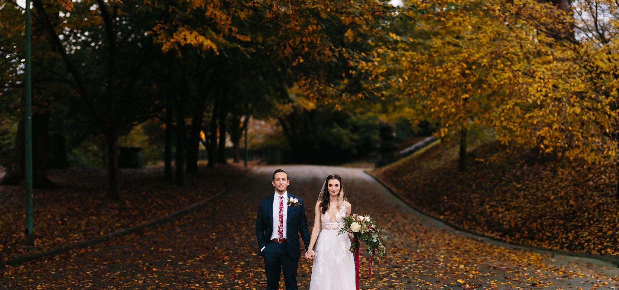 fall wedding photos bride and groom dramatic edgy