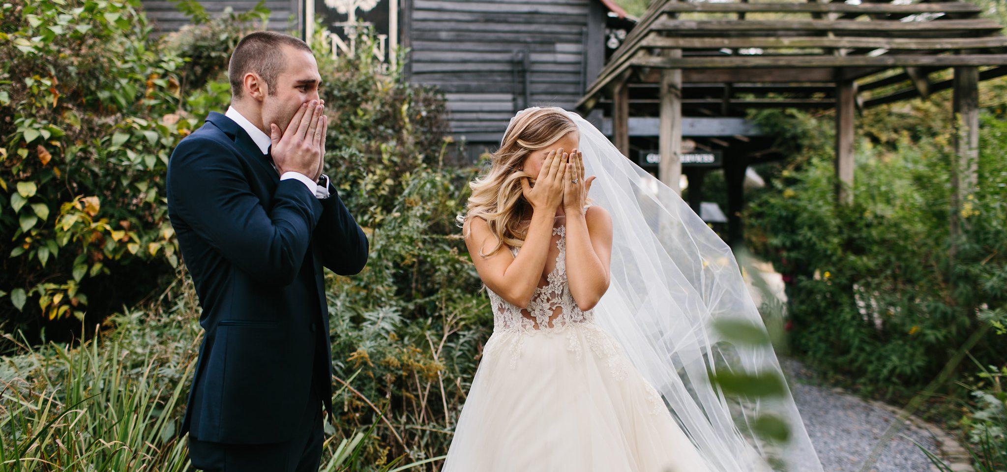 first look emotional bride and groom Serenbe