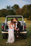 sunset wedding photos with vintage bronco